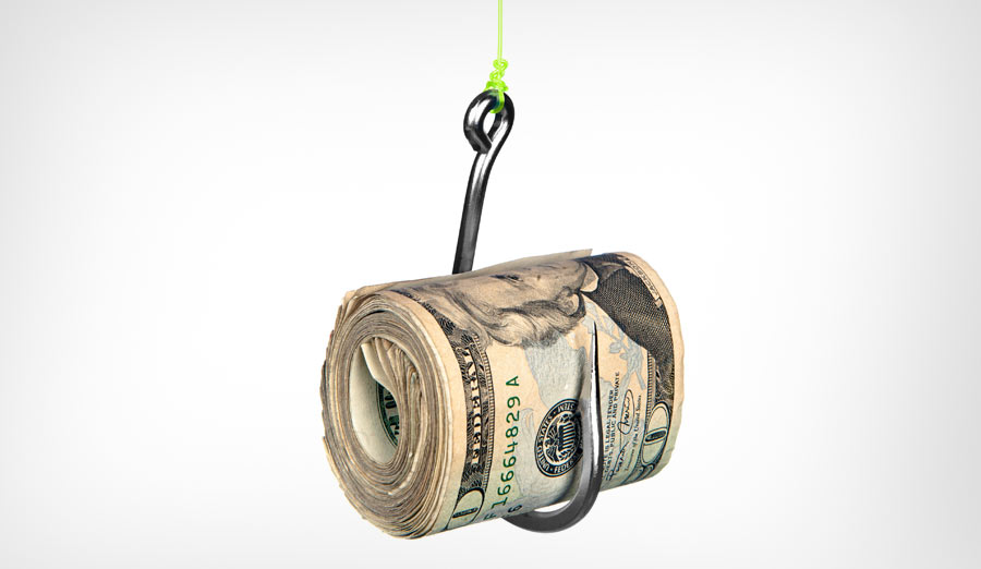 A roll of cash on a fishhook isolated on a white background.